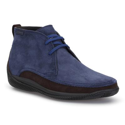 LO.White - LO.White Handmade Navy Blue / Brown Suede %100 Italian Shoe
