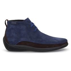 LO.White - LO.White Handmade Navy Blue / Brown Suede %100 Italian Shoe (1)