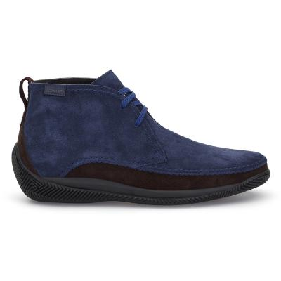 LO.White - LO.White Handmade Navy Blue / Brown Suede %100 Italian Shoe (1)