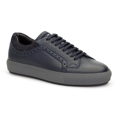 LO.White - LO.White Lacivert Deri Sneakers Ayakkabı