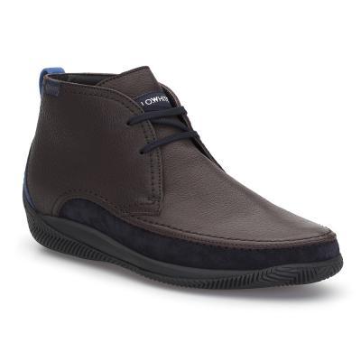 LO.White - LO.White Deri El Yapımı Kahve Deri / Lacivert Süet %100 Italyan Ayakkabı