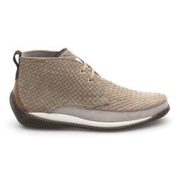LO.White Suede Handmade Knitting Natural Beige Italian Shoe - Thumbnail