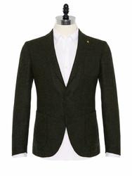 Sartoria Latorre - Sartoria Latorre Yeşil Tweed Astarsız Spor Doğayla Barışık Ceket