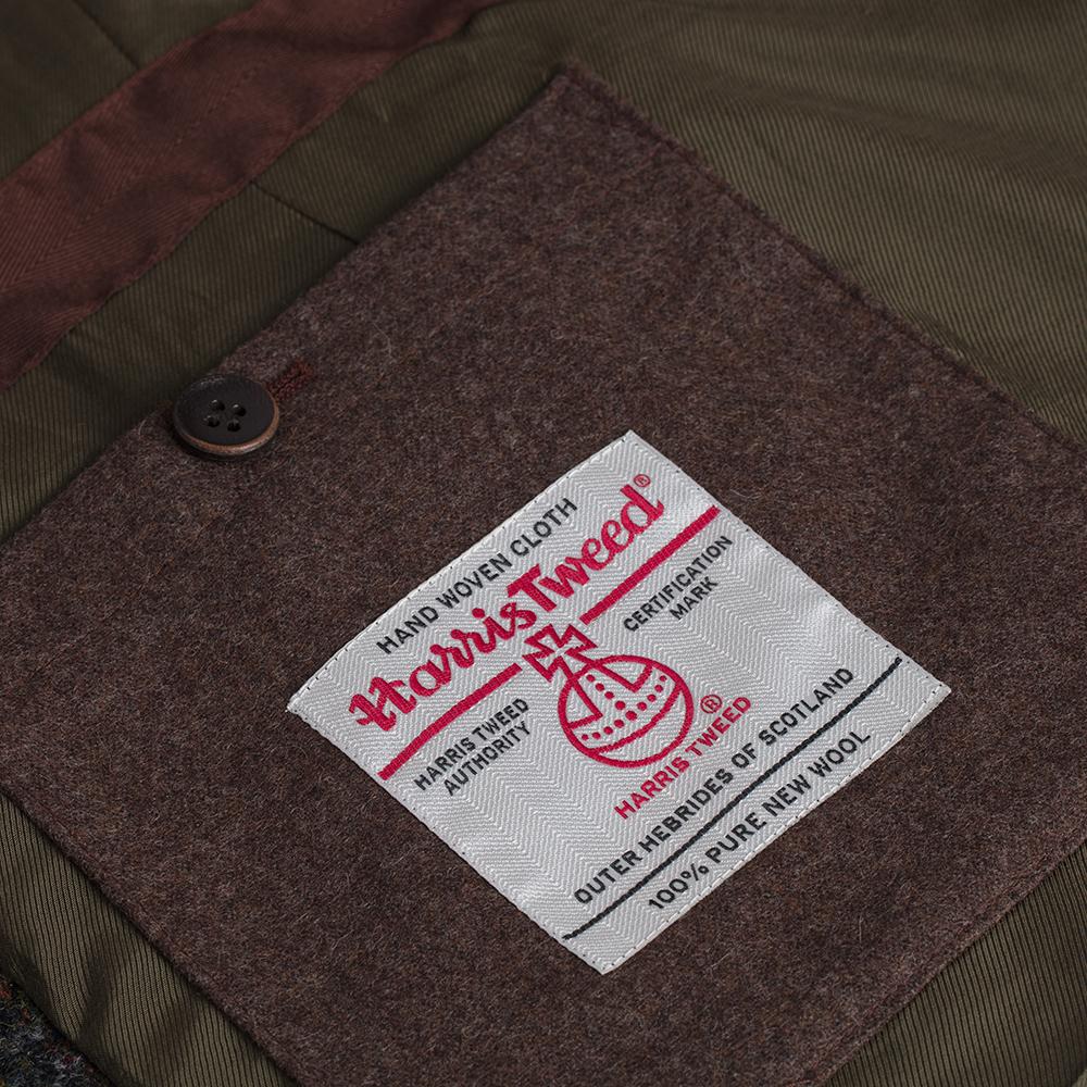 Schneiders Zeytin Yeşili Kahve Harris Tweed Yün Ekose Ceket