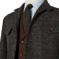 Schneiders Zeytin Yeşili Kahve Harris Tweed Yün Ekose Ceket - Thumbnail