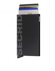 Secrid Cardprotector Laser Logo Brushed Black Wallet - Thumbnail