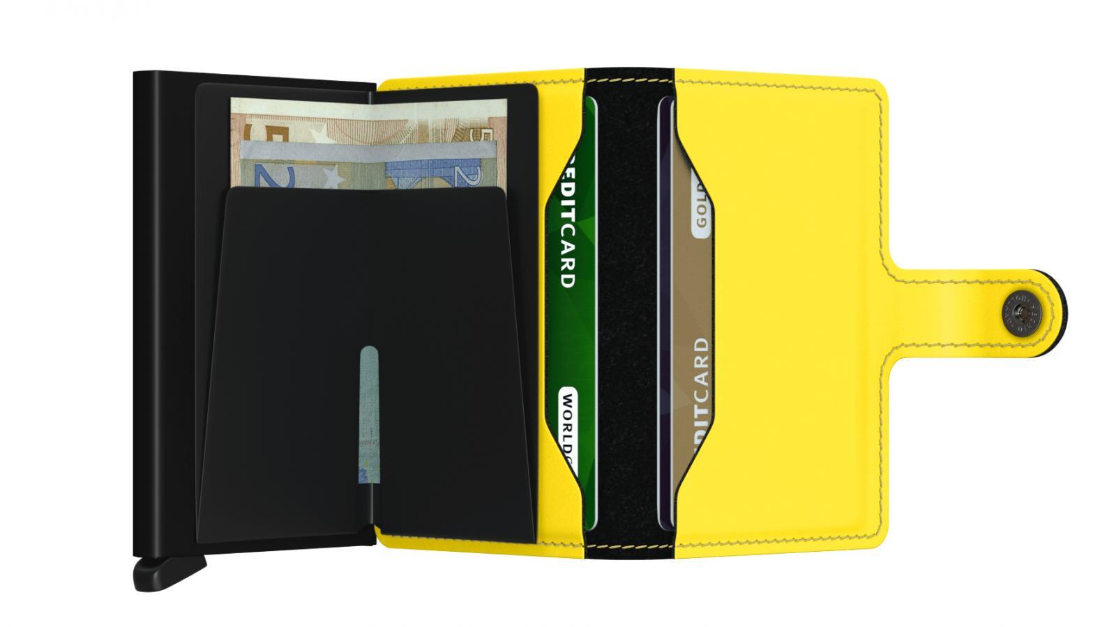Secrid Miniwallet Matte Black Yellow Cüzdan
