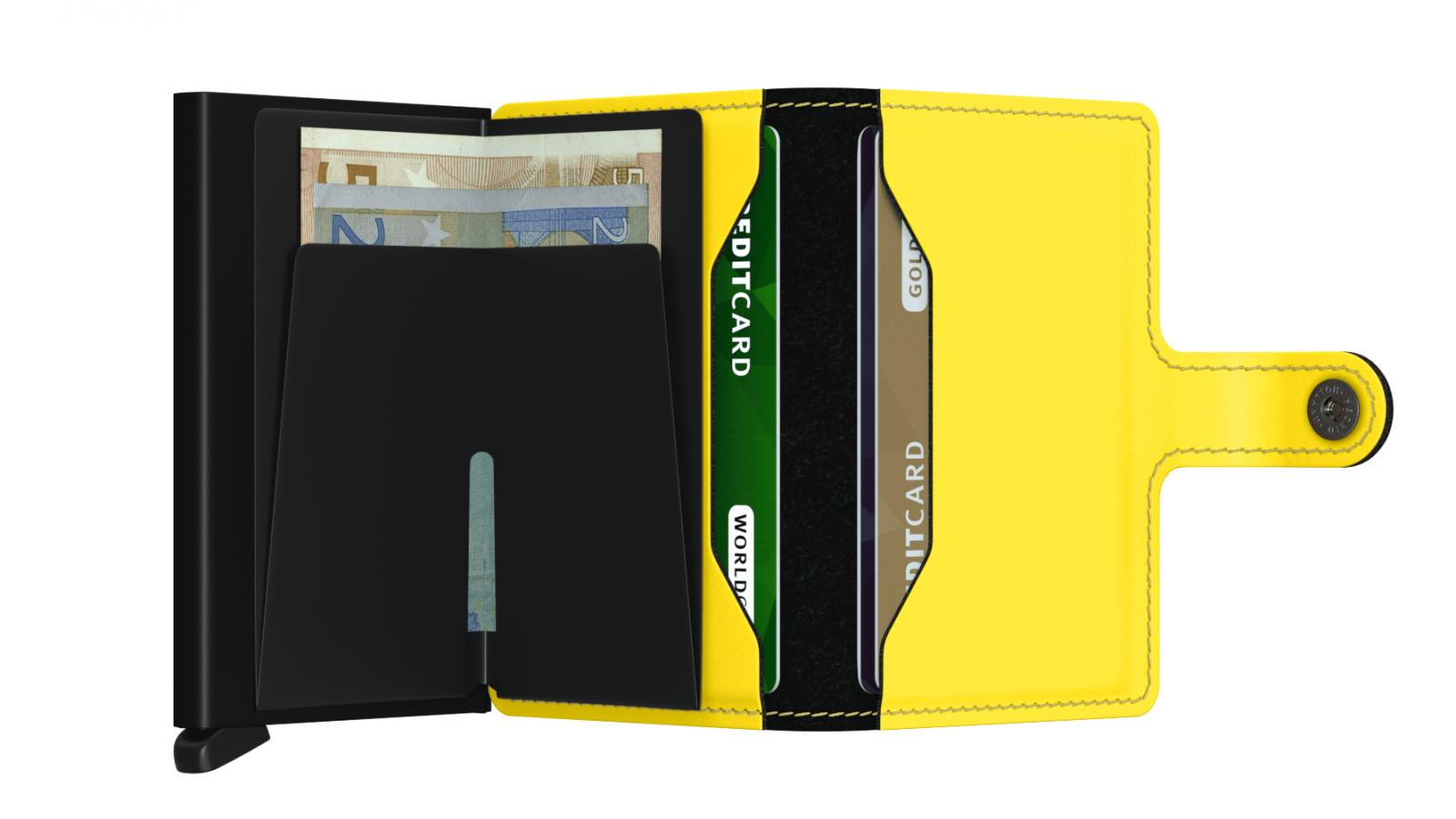Secrid Miniwallet Matte Black Yellow Wallet