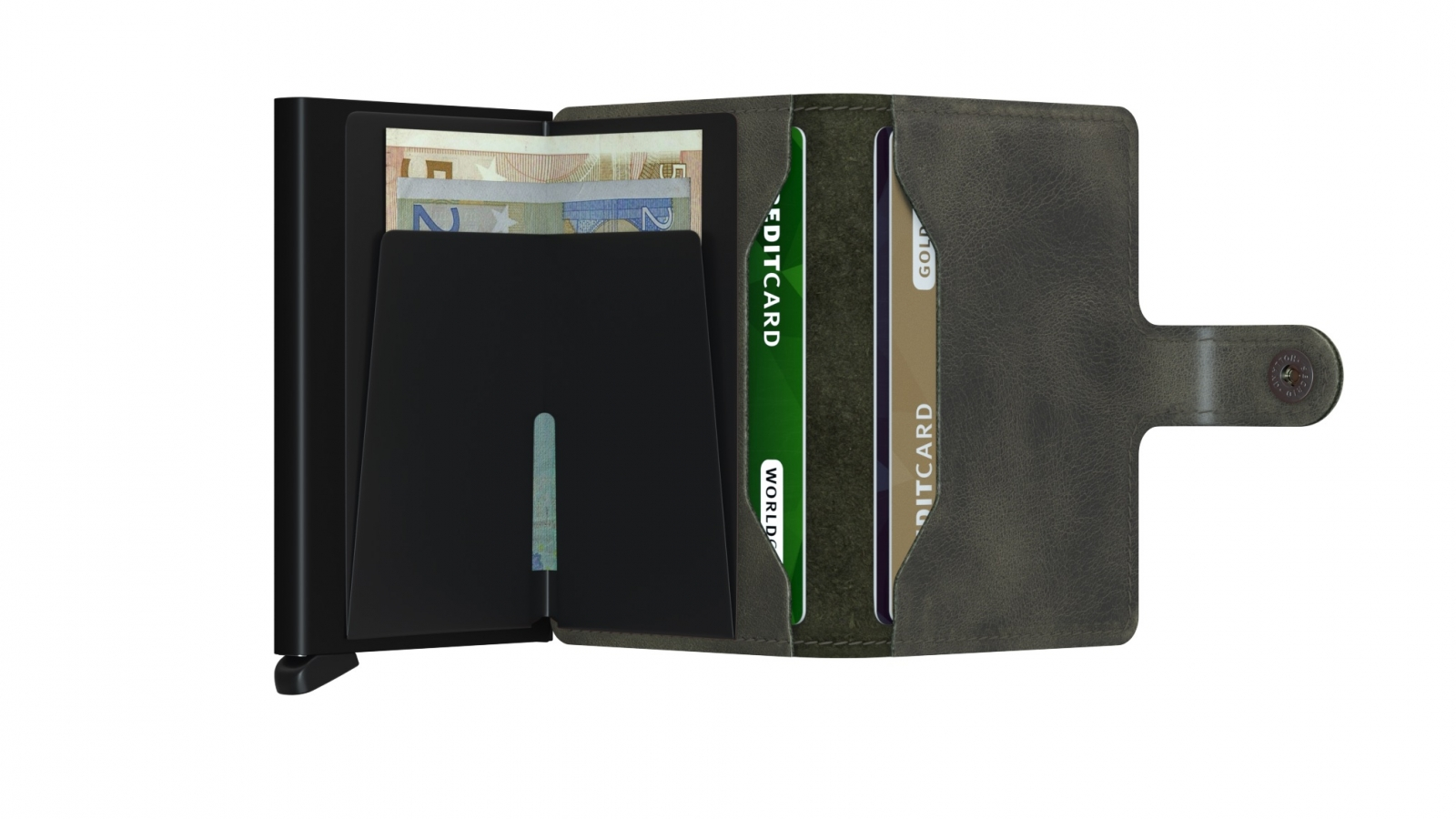 Secrid Miniwallet Vintage Olive Black Cüzdan