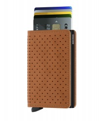 Secrid Slimwallet Perforated Cognac Wallet - Thumbnail