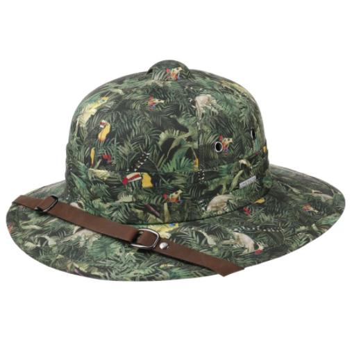 Stetson - Stetson Pith Helmet Cotton Yeşil Tropical Desenli Şapka