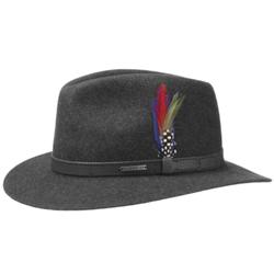 Stetson - Stetson Traveller Woolfelt Mix Yün Su Tutmaz Antracite El Yapımı Şapka